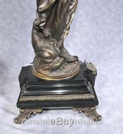 Pair Bronze Lights Signed Gregoire Statue Liberty Torcheres Lamp