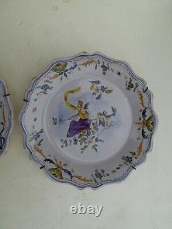 Pair Ceramic Plates Moustier Etienne Ferrat Signed Antique French Hand Painted
