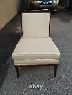 Pair Chic Widdicomb Manly Signed Karl Slipper Chairs In Fratelli Silk Fabric P