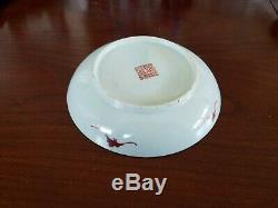 Pair Chinese Antique 19th Century Signed Cabbage Leaf Design Porcelain Plates