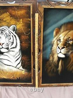 Pair David Ortiz 1970s Velvet Paintings Large Tiger Lion Mexico