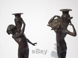 Pair Edward Francis Mccartan Bronze Metal Sculpture Nude Statue Antique Candle
