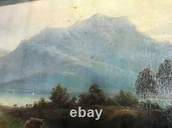 Pair Fine Antique Pastoral Oil Paintings 19th Century Scottish Highlands Cattle