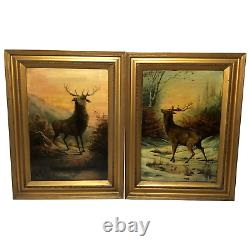 Pair Fine Art Antique Oil Paintings Portrait Deer Stags Scottish Glen Highlands