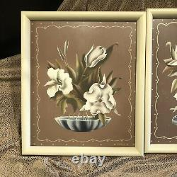 Pair Framed 1940s Color Lithographic Floral Prints by Turner Hollywood Regency