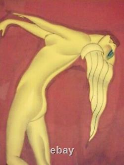 Pair Framed Gustave Kaitz Art Deco Frankart Era Nude Female Nymph Paintings