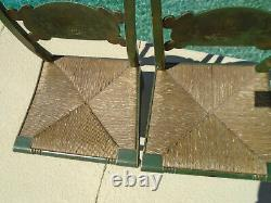 Pair Fully Signed Hitchcock Green Wood Stencil Chairs Rush Seats