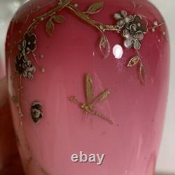 Pair Harrach Pink Glass Vases Signed Enamelled Dragonfly 6 15cm 1880 Antique