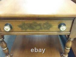 Pair Hitchcock Signed End Side Tables Stenciled Drawer Eagle Pulls