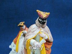 Pair Italian ceramic M+F Venitian Carnivalesque statues, vry gd condition signed