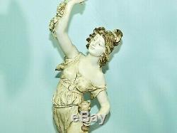 Pair L & F MOREAU SIGNED Figural Table Lamps French Art Nouveau Lady & Man 40