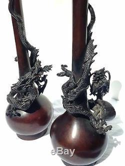 Pair Meiji Japanese Dragon Vases Antique 19th Century Bronze Signed