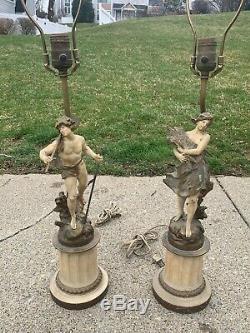 Pair Moreau COLLECTION FRANCAISE Spelter Art Nouveau Style Lamps-Signed PAIR
