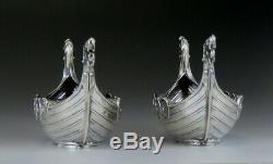 Pair Norwegian Sterling Silver Viking Boat Salt Cellars Signed David Andersen