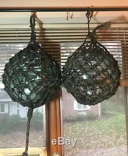 Pair Of 12 Vintage Signed Double FF Authentic Japanese Glass fishing floats