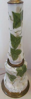 Pair Of 1930's Bristol Glass Hand Painted Antique Lamps Artist Signed Peerl