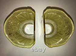 Pair Of Antique Art Deco Max Schaffer Signed Wall Sconces Metal & Glass