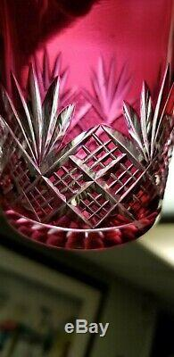Pair Of Antique Baccarat Perfume Bottles Cranberry Cut To Clear Signed