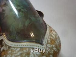 Pair Of Antique Doulton Burlsem Hand-painted Artist Signed Vases