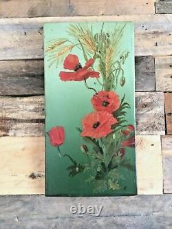 Pair Of Antique Edwardian Tin Panel Still Life Paintings Of Flowers Signed E. D