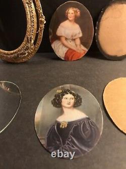 Pair Of Antique Miniature Portrait/Signed/Bronze Gilding Frame/Europe C. 1920/Oil