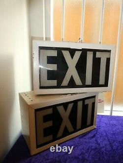 Pair Of Antique Original EXIT Signs In Light Box 1940/1950 Odeon/Cinema