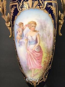 Pair Of Antique Sevres Porcelain Vase/ Signed / Raised Gold/ France C. 1920