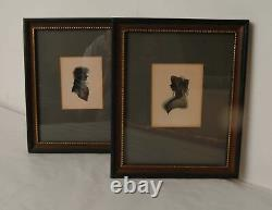 Pair Of Antique Signed Silhouettes By Turville Handpainted & Framed