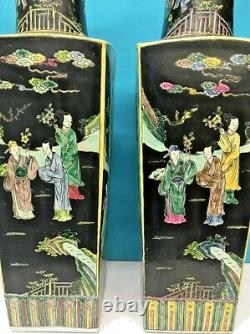 Pair Of Chinese Famille Verte Enamel Square Vases, Hand Painted