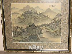 Pair Of Chinese Traditional Landscape Paintings On Silk By Wang Yue- Signed