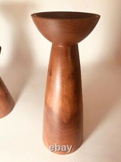 Pair Of Danish Modern Teak Candlesticks Signed Hermann Mid Century Modern