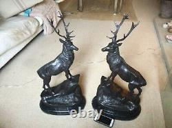 Pair Of Facing Monarch Of The Glen Bronze Stags Signed Moigniez
