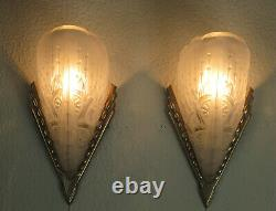 Pair Of French Art Deco Sconces 1930 Signed Lorrain Nancy France