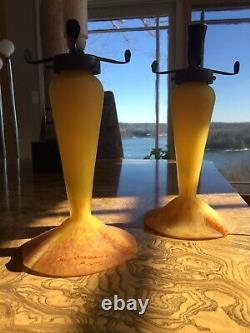 Pair Of French Art Glass Lamps, Art Deco Style Signed Les Francais De Nancy
