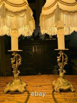 Pair Of Gilded Rococo Table Lamps, Signed Carl J, Louis XVI French Empire