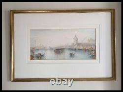Pair Of Large Antique 19th Century Watercolours Of Venice Grand Tour 1880