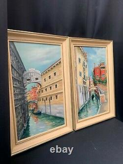 Pair Of Large Vintage Oil Paintings On Canvas, Venice