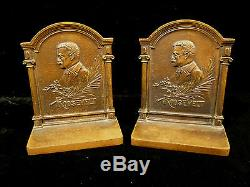 Pair Of Signed Bronze Bradley & Hubbard Teddy Roosevelt Bookends Circa 1905