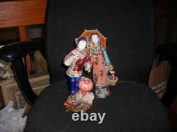 Pair Of Signed Vintage 1960's Porcelain Chinese Figurines 12