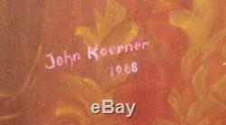 Pair Of Vintage Antique Style 1854 Oil Portrait Paintings John Koerner 1970