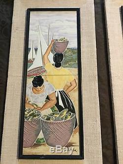 Pair Of Vintage Art Pottery Tile Mid Century Signed Irina Lorin Framed Art Fish