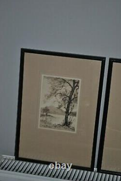 Pair Original Pen & Ink Pictures by G H Downing 1878-1940 Hawes Water UK Vintage