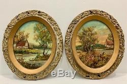 Pair Oval Antique Oil on Canvas Rural Landscape Countryside American Artist