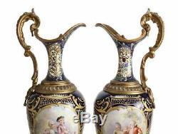 Pair Sevres France Porcelain Ewers with Bronze Mounts Cobalt Blue Signed