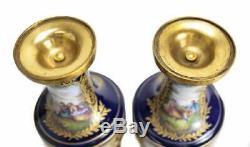 Pair Sevres France Porcelain Lidded Urns Cobalt Blue Signed 19th Century