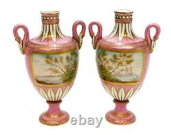 Pair Sevres Hand Painted Porcelain Twin Handled Miniature Urns, c1900, Signed