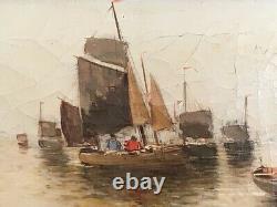 Pair Signed Henri Fabre (Fr. 1880-1950) Antique Framed Seascape Harbor Scenes