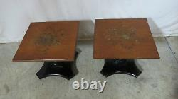 Pair Signed Hitchcock Tables Stands