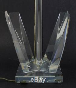 Pair Signed Hivo Van Teal Mid Century Modern Modernism Lucite Bedroom Table Lamp