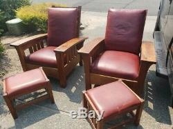 Pair Signed Numbered Gustav Stickley Leather Morris Chairs Reclining Footrest